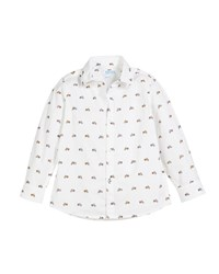 Mayoral Woven Tiny Motorcycle Button Down Shirt Size 3 7 White