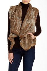 Dawn Levy Genuine Rabbit Fur Vest Brown