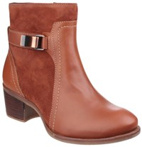 Hush Puppies Fondly Nellie Zip Up Ankle Boots Cognac