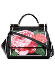 Dolce And Gabbana Floral Tote Black