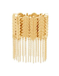 Steve Madden Leaf Design Link And Cable Chain Fringe Bracelet Gold
