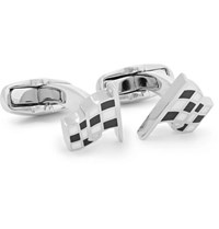 Paul Smith Checked Flag Silver Tone And Enamel Cufflinks