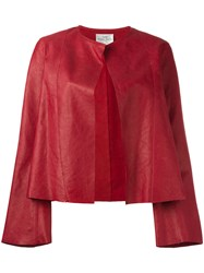 Forte Forte Collarless Open Leather Jacket Red