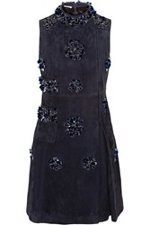 Miu Miu Embellished Suede Mini Dress Blue