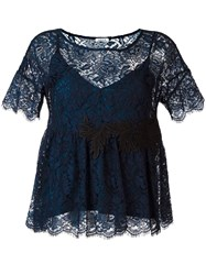P.A.R.O.S.H. Embroidered Lace Blouse Black
