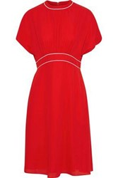 Mikael Aghal Woman Gathered Crepe Dress Red