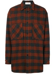 Faith Connexion Plaid Loose Shirt Men Acrylic Polyamide Polyester Wool S Brown