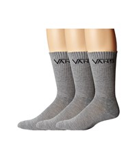 Vans Classic Crew 3 Pair Pack Heather Grey Men's Crew Cut Socks Shoes Gray