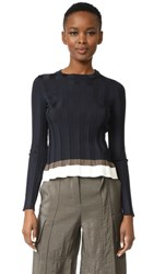 Nina Ricci Ribbed Knit Long Sleeve Navy