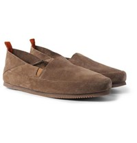 Mulo Collapsible Heel Suede Loafers Light Brown