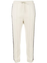 Gucci Embellished Trim Cropped Trousers Cotton Polyester L Nude Neutrals