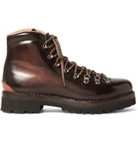 Ralph Lauren Purple Label Fidel Ii Burnished Leather Boots Brown