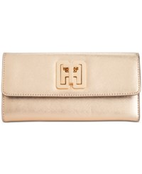 Tommy Hilfiger Th Turnlock Trifold Wallet Metallic Gold