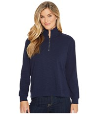 Mod O Doc Heather Slub Rib 1 2 Zip Funnel Pullover True Navy Sweatshirt