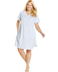 Miss Elaine Plus Size Snap Front Polka Dot Robe Blue Dot