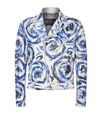 Versace Painted Leather Biker Jacket Male White