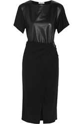 Vionnet Leather Paneled Jersey Crepe Dress Black