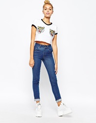 The Ragged Priest Skinny Jeans With Tiger Patch Bum Blue