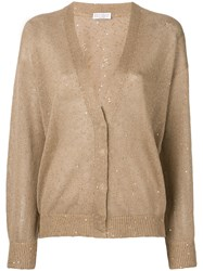 Brunello Cucinelli Sequin Embroidered Cardigan Brown