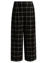 Tibi Checked Wide Leg Wool Blend Culottes Black Multi