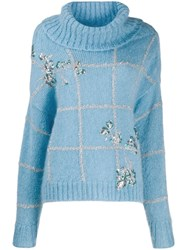 Delpozo Roll Neck Jumper Blue