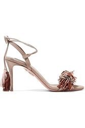 Aquazzura Wild Thing Fringed Suede Sandals Beige