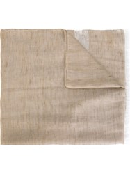 Eleventy Stripe Detail Scarf Nude And Neutrals