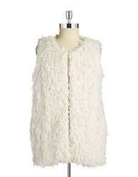 Vince Camuto Plus Plus Faux Fur Vest Antique White