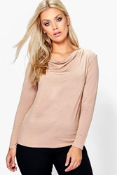 Boohoo Elizabeth High Neck Cowl Top Camel