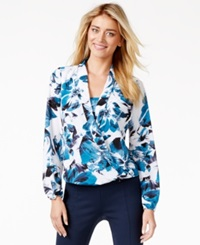Alfani Floral Print Surplice Top Only At Macy's Brush Blooms Teal