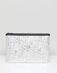 Juicy Couture By Metallic Embossed Logo Clutch Bag Silver