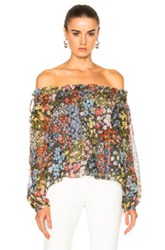 Needle And Thread Flowerbed Smock Top In Floral Green Red Floral Green Red