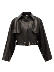 Khaite Krista Cropped Leather Biker Jacket Black