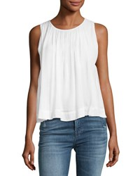 J Brand Isla Sleeveless Pleated Top White