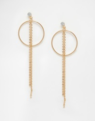Warehouse Circle And Chain Drop Earrings Gold