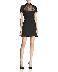 The Kooples Lace Inset Silk Mini Dress Black