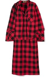 Hellessy Kirstin Asymmetric Checked Cotton And Silk Blend Twill Shirt Red