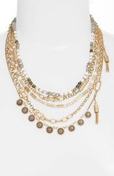 Treasure And Bond 'S Five Layer Stone Necklace Grey Gold