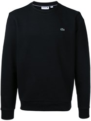 Lacoste Fleece Crew Neck Sweatshirt Men Cotton 6 Black