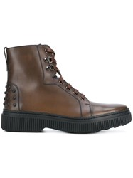 Tod's Lace Up Chelsea Boots Brown