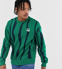 Fila Tribe Sweat With Badge In Green Exclusive At Asos