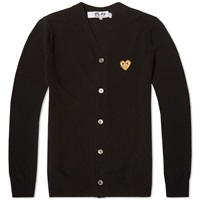 Comme Des Garcons Play Gold Heart Cardigan Black