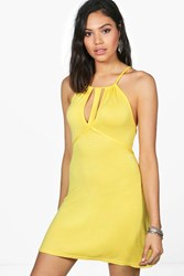 Boohoo Caged Cut Out Swing Dress Yellow