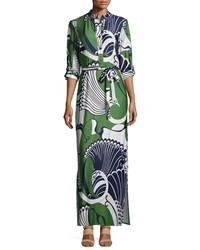 Melissa Masse Peacock Print Maxi Dress