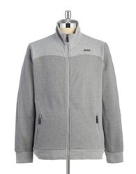 Jeep Textured Zip Up Sweatshirt Grey