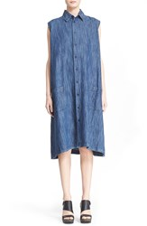 Eskandar Cotton And Linen Sleeveless A Line Shirtdress Denim