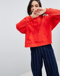 Monki Cropped Hoodie Red