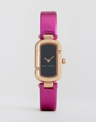 Marc Jacobs Metallic Pink Leather Watch Pink