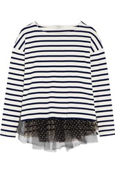 J.Crew Polka Dot Tulle Trimmed Striped Jersey Top Cream