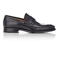 Barneys New York Men's Apron Toe Penny Loafers Black Blue Black Blue
